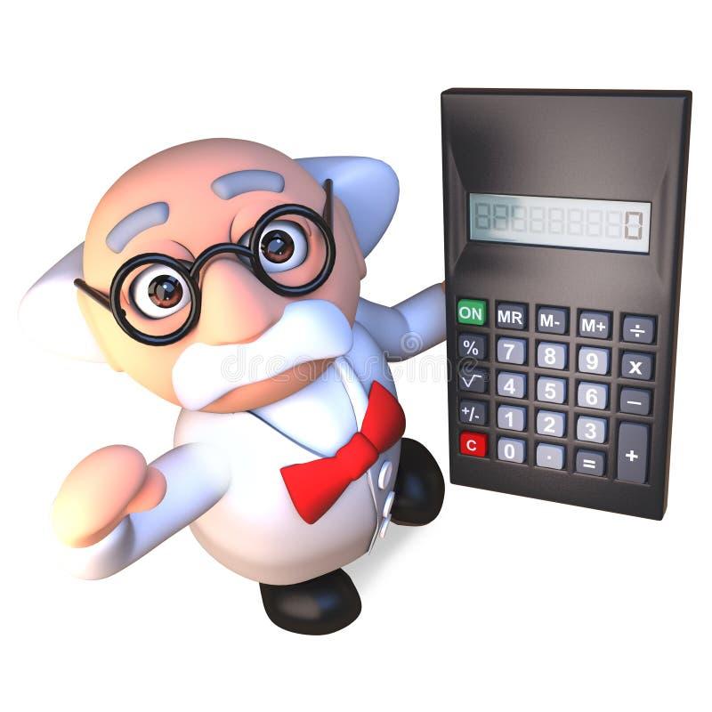 Het slimme gekke karakter die van de wetenschapperprofessor een digitale calculator, 3d illustratie houden stock illustratie