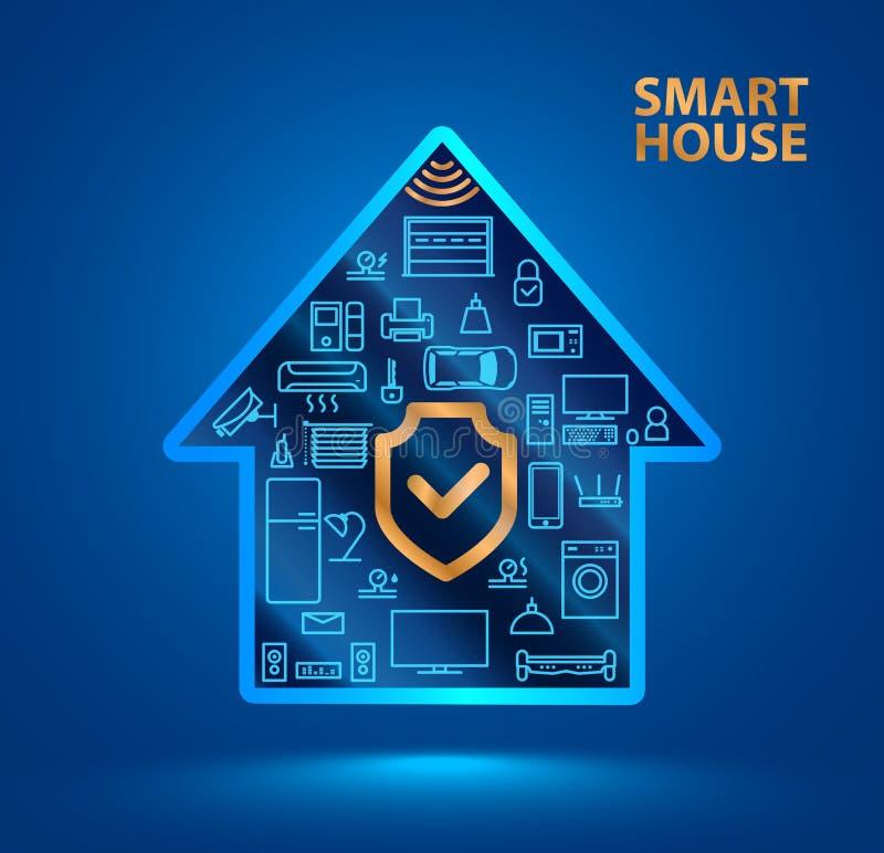 Het slimme huis van het symboolsilhouet met pictogrammen van huishoudapparaten Het schildpictogram vector illustratie