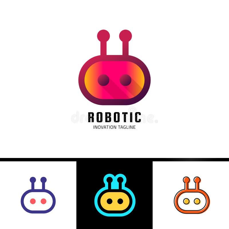 Het slimme malplaatje van het robotembleem Leuke die logotype op witte achtergrond wordt geïsoleerd Toekomstig technologieënthema vector illustratie
