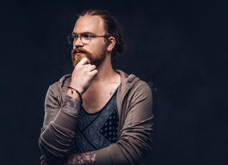 Het slimme peinzende roodharige hipster met volledige baard en glazen gekleed in vrijetijdskleding, stelt met hand op kin in een  stock afbeeldingen