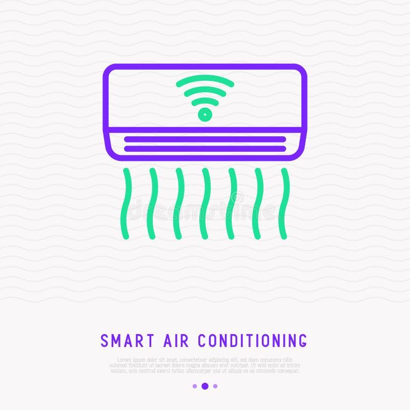 Het slimme pictogram van de airconditionings dunne lijn vector illustratie