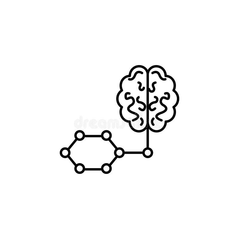 Het slimme pictogram van de het conceptenlijn van de hersenenkunstmatige intelligentie Eenvoudige elementenillustratie Het slimme royalty-vrije illustratie