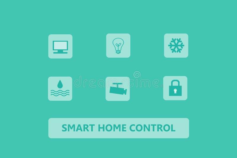 Het slimme pictogram van de huiscontrole op groene achtergrond, Webbanner, slim h stock illustratie