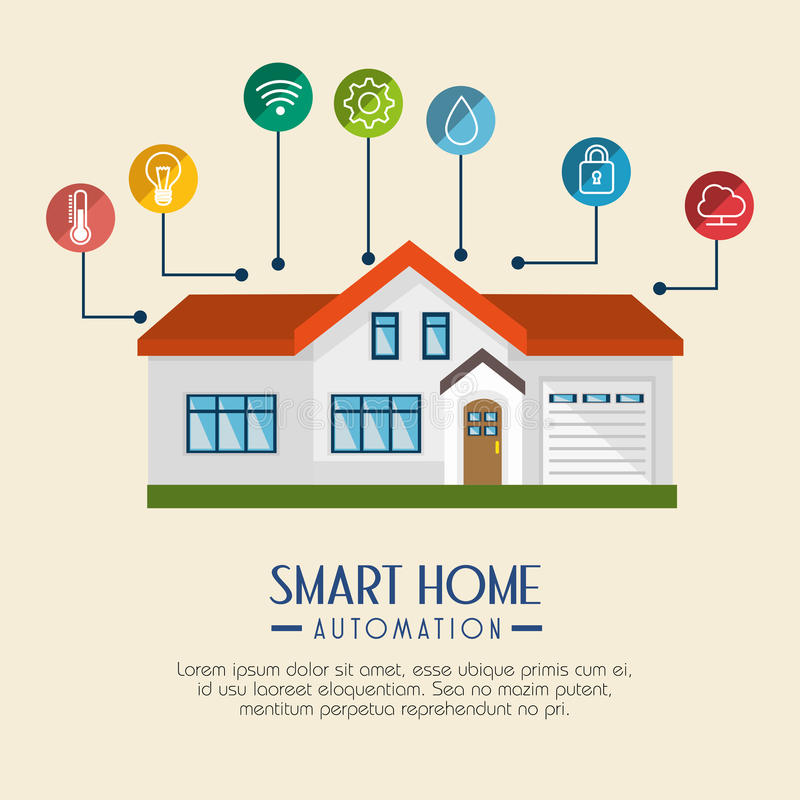Het slimme pictogram van de huistechnologie vector illustratie