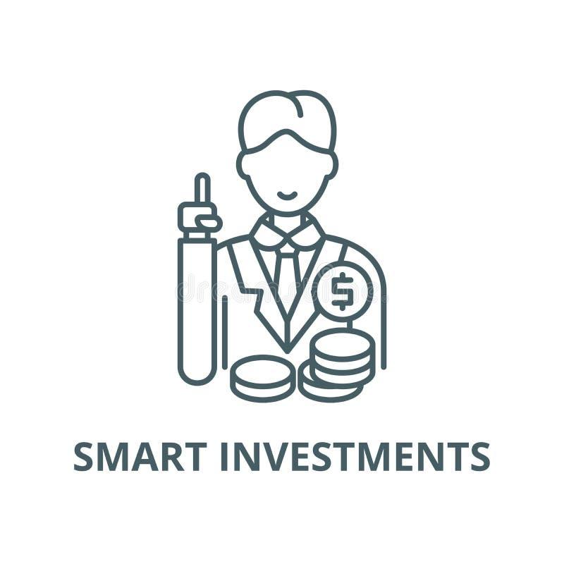Het slimme pictogram van de investeringen vectorlijn, lineair concept, overzichtsteken, symbool royalty-vrije illustratie