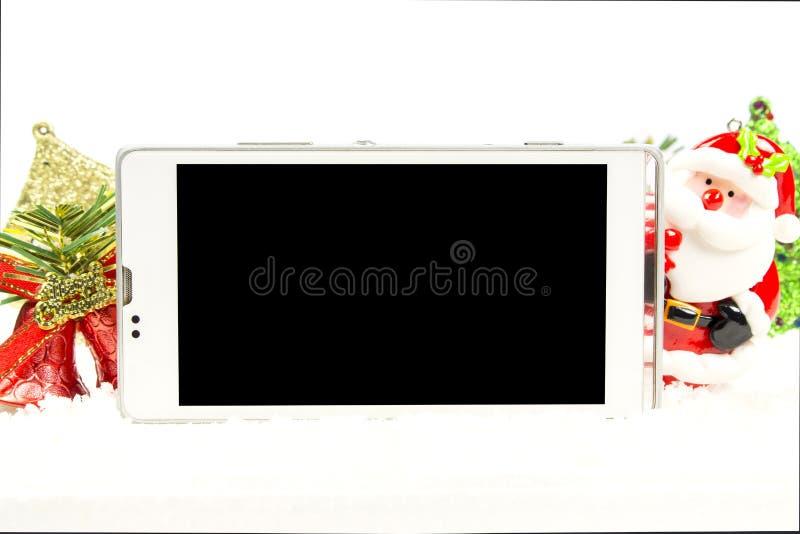 Het slimme telefoon lege scherm in Kerstmisthema royalty-vrije stock afbeelding
