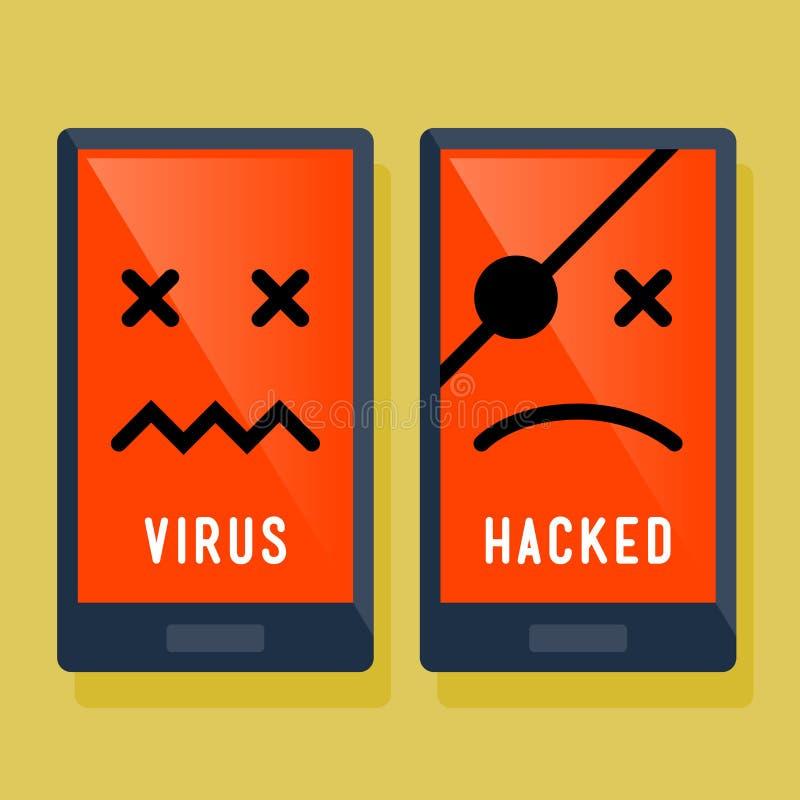 Het slimme Telefoonhakker en Pictogram van de Virusaanval royalty-vrije illustratie