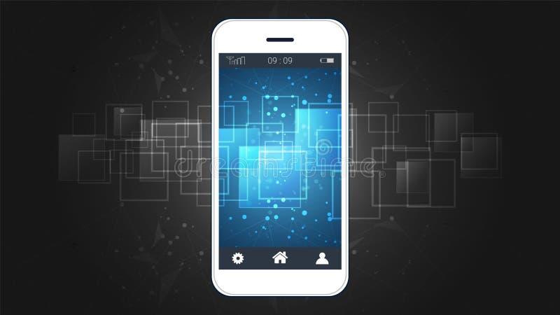 Het slimme telefoonscherm die de digitale achtergrond van de kringsraad tonen royalty-vrije illustratie