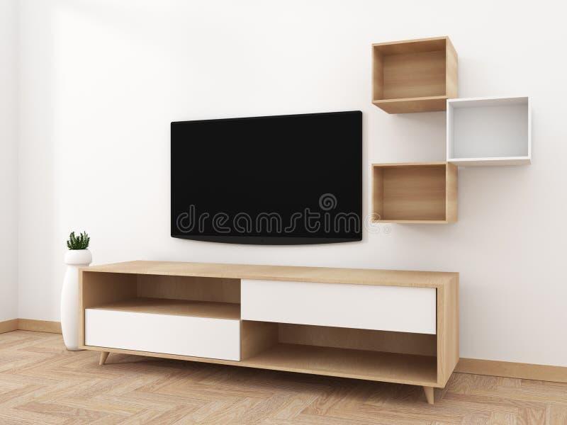 Het slimme TV-Model met het lege zwarte het scherm hangen op het kabinetsdecor, moderne woonkamer zen stileert het 3d teruggeven stock illustratie