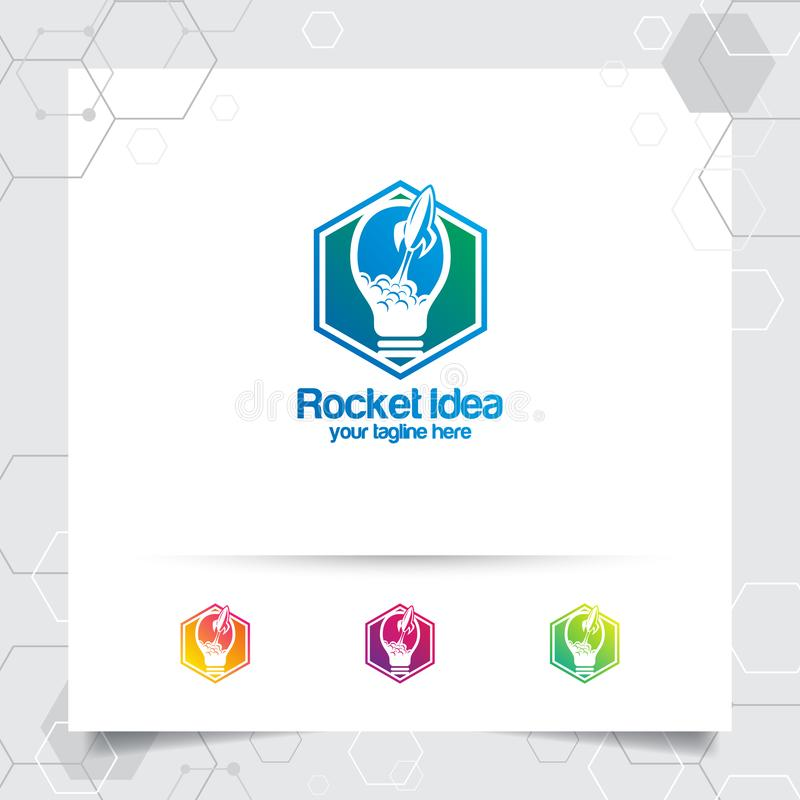 Het slimme vectorontwerp van het ideeembleem met concept bol en lamppictogramsymbool Het concept van het ideeembleem voor agentsc stock illustratie