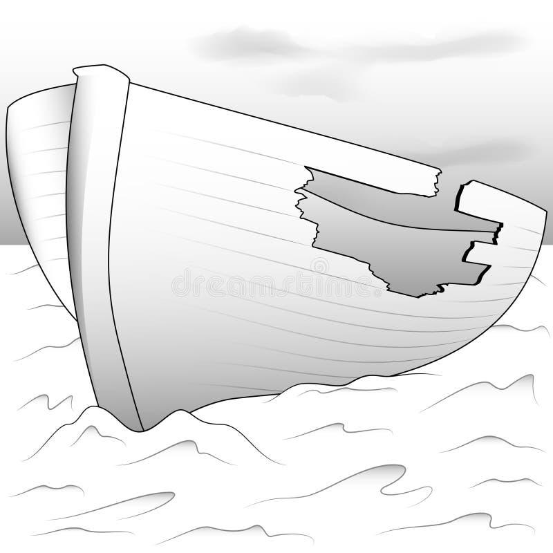 Het slopen van Boot op Strand vector illustratie