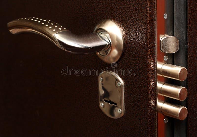 Het slot met trekt bouten terug royalty-vrije stock foto's