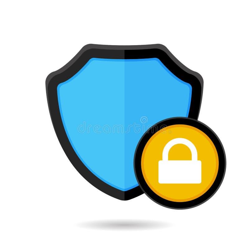Het slot van de blokfirewall beschermt het schildpictogram van de beschermingsveiligheid stock illustratie