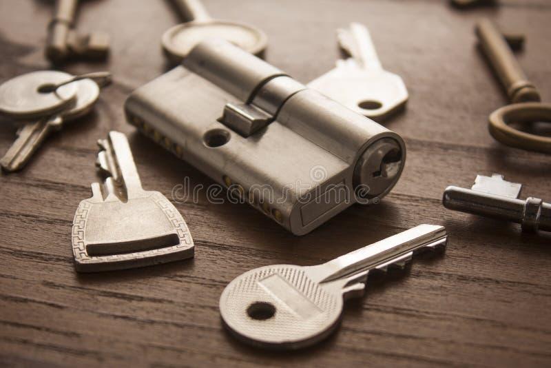 Het slot van de deur met sleutels