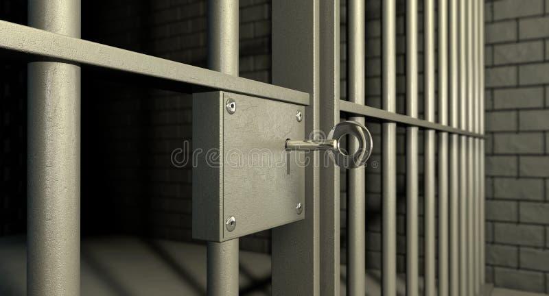 Het Slot van de Deur van de Cel van de gevangenis stock afbeeldingen