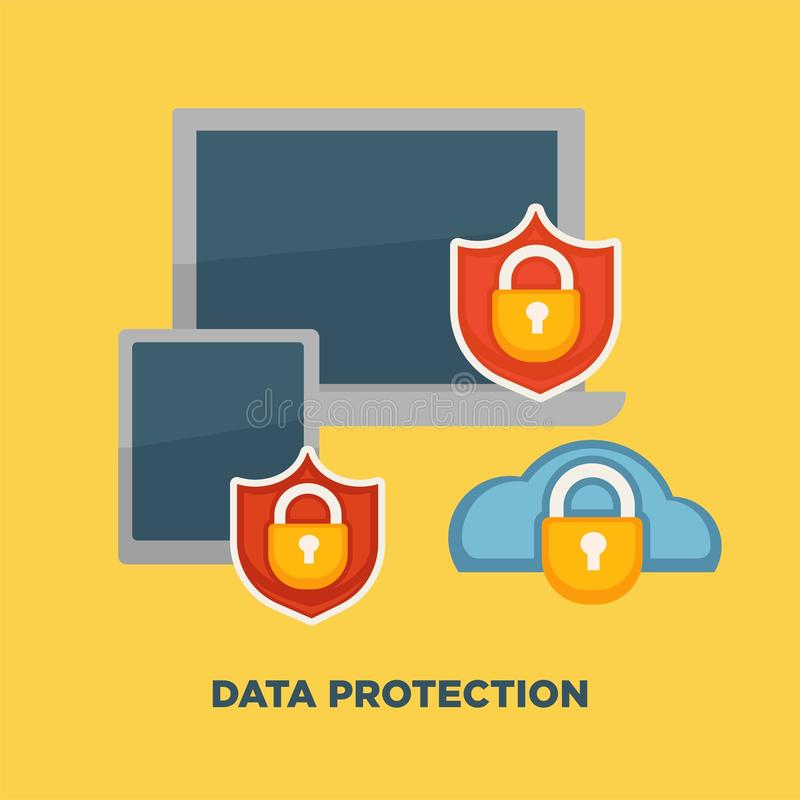 Het slot van de gegevensbeschermingomslag op Internet-veiligheid op geel wordt geïsoleerd die stock illustratie