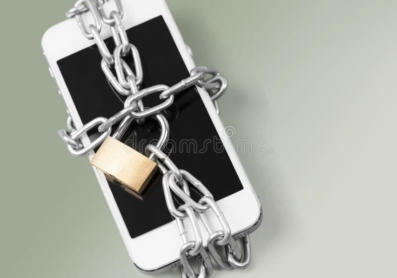 Het slot van de telefoondiefstal stock foto