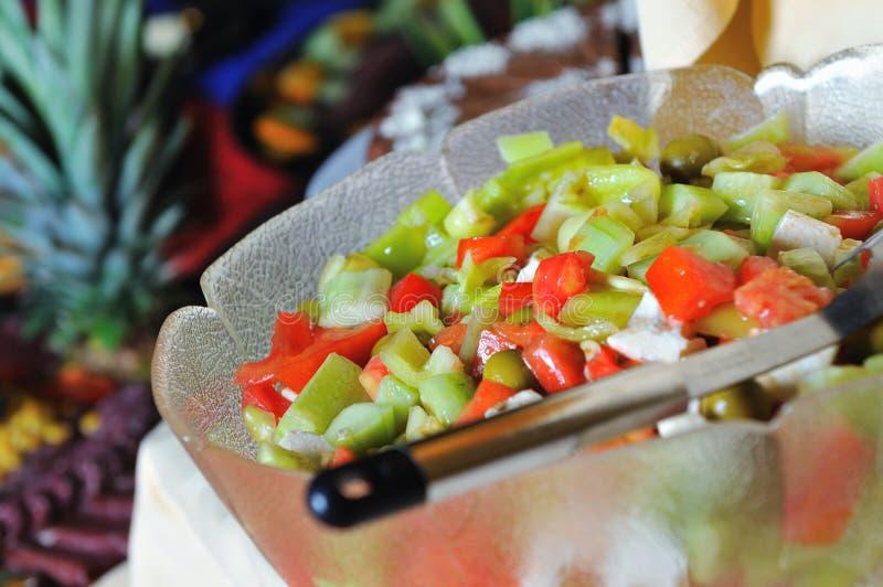 Het smakelijke buffet van de saladeclose-up stock foto's