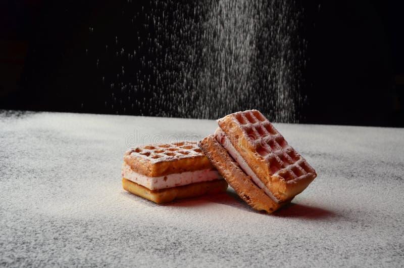 Het smakelijke gezonde snoepje van het cakekoekje aan het dessert van het theeontbijt royalty-vrije stock foto