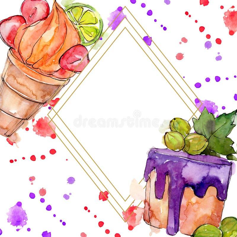 Het smakelijke zoete dessert van de roomijskegel Waterverf achtergrondillustratiereeks Het ornamentvierkant van de kadergrens vector illustratie