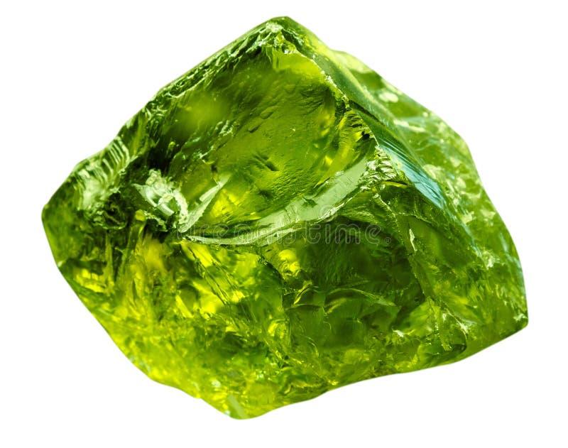 Het smaragdgroene mineraal van de gemsteen Groene halfedelsteen van kostbare rots die op witte achtergrond wordt geïsoleerd Trans stock foto