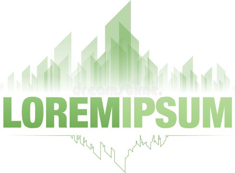Het smaragdgroene ontwerp van het stads groene embleem stock illustratie