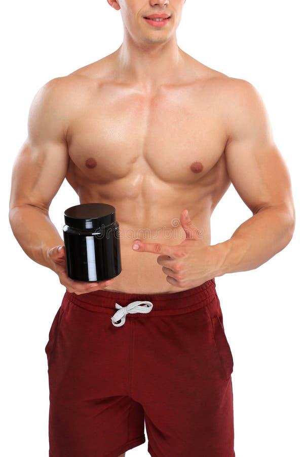 Het smeren van het anabole eiwitformaat van het bodybuilder bodybuilding portret stock foto's