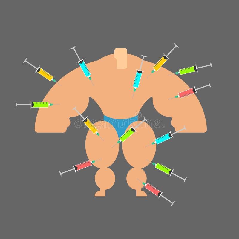Het smeren voor Bodybuilder Sterke mens en steroïden Spuit met stock illustratie