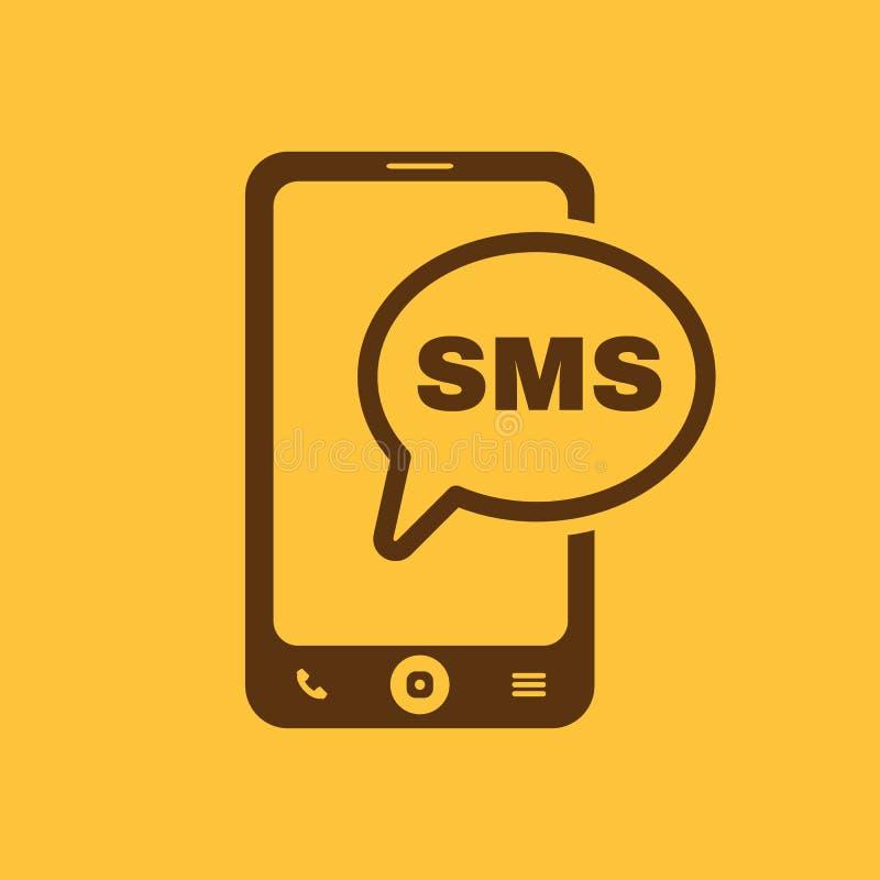 Het smspictogram Smartphone en telefoon, mededeling, berichtsymbool vlak stock illustratie
