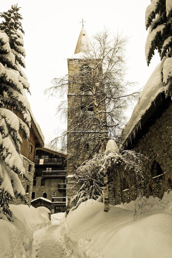 Het sneeuw Oude Dorp van Val D ` Isère royalty-vrije stock fotografie