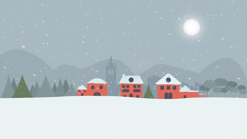 Het sneeuwlandschap, het is Kerstmistijd royalty-vrije illustratie
