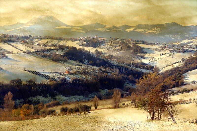 Het sneeuwlandschap van Grunge royalty-vrije stock fotografie