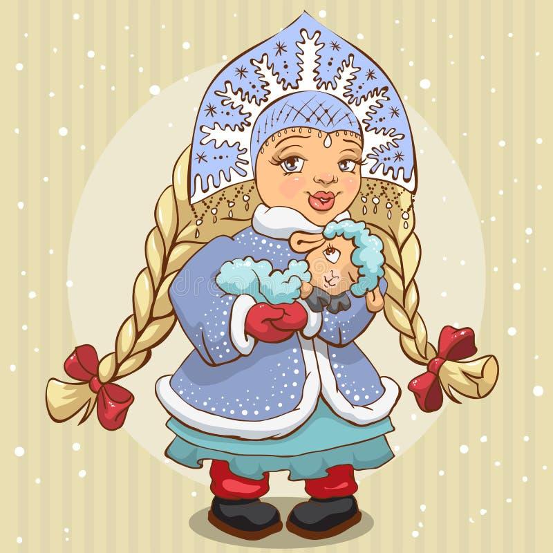 Het sneeuwmeisje in blauwe bontjas houdt een lam vector illustratie