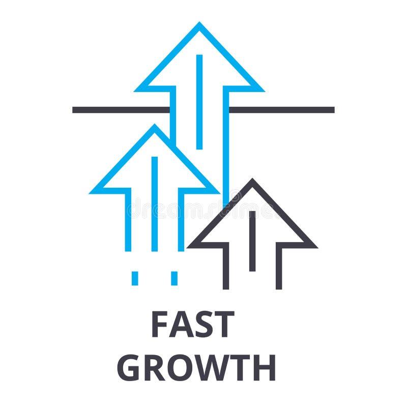 Het snelle pictogram van de de groei dunne lijn, teken, symbool, illustation, lineair concept, vector vector illustratie
