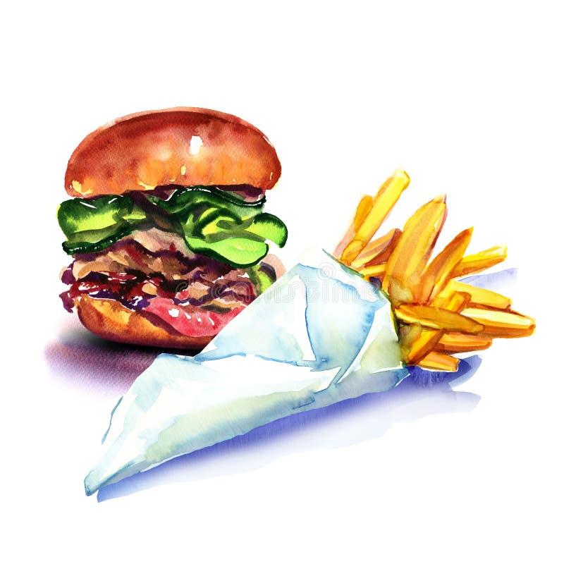 Het snelle voedsel, de smakelijke hamburger, de hamburger, en de frieten, braadden aardappels, in document geïsoleerde zak, water vector illustratie