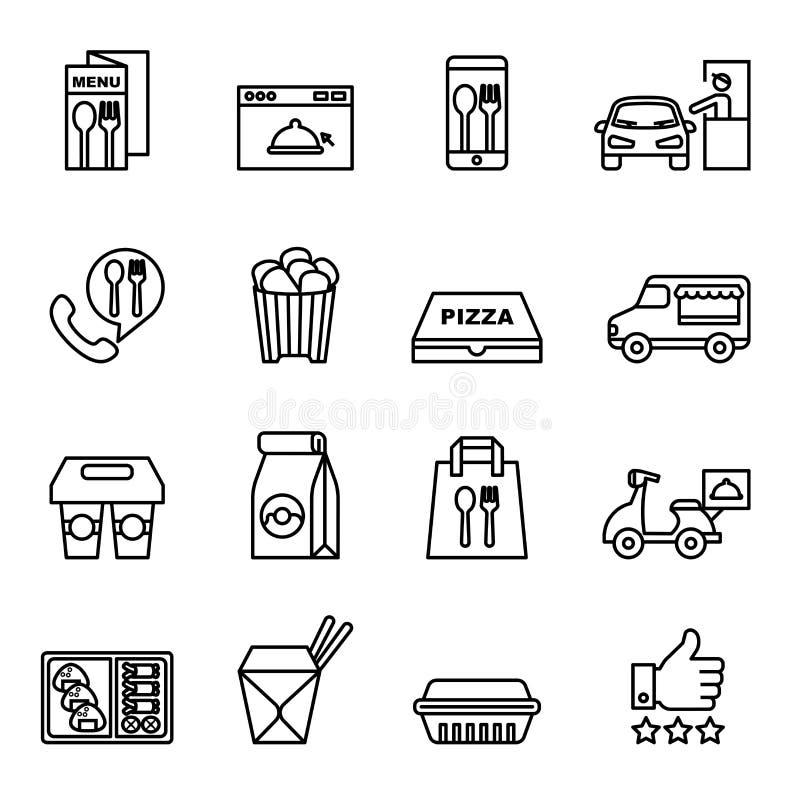 Het snelle voedsel, haalt, verpakt pictogrammen voor levering weg royalty-vrije illustratie
