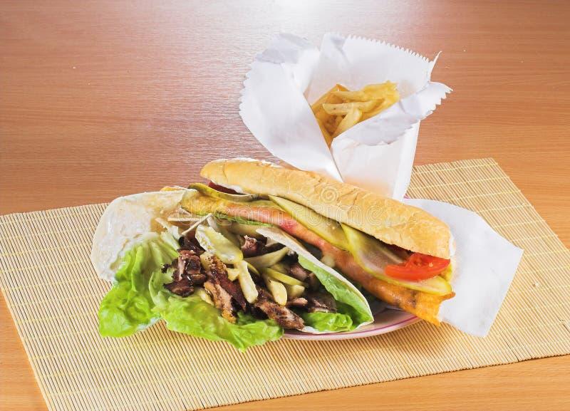 Het Snelle voedsel van de troep stock foto