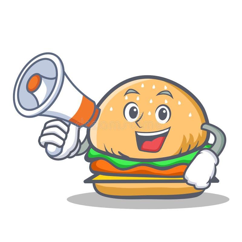 Het snelle voedsel van het hamburgerkarakter met megafoon stock illustratie