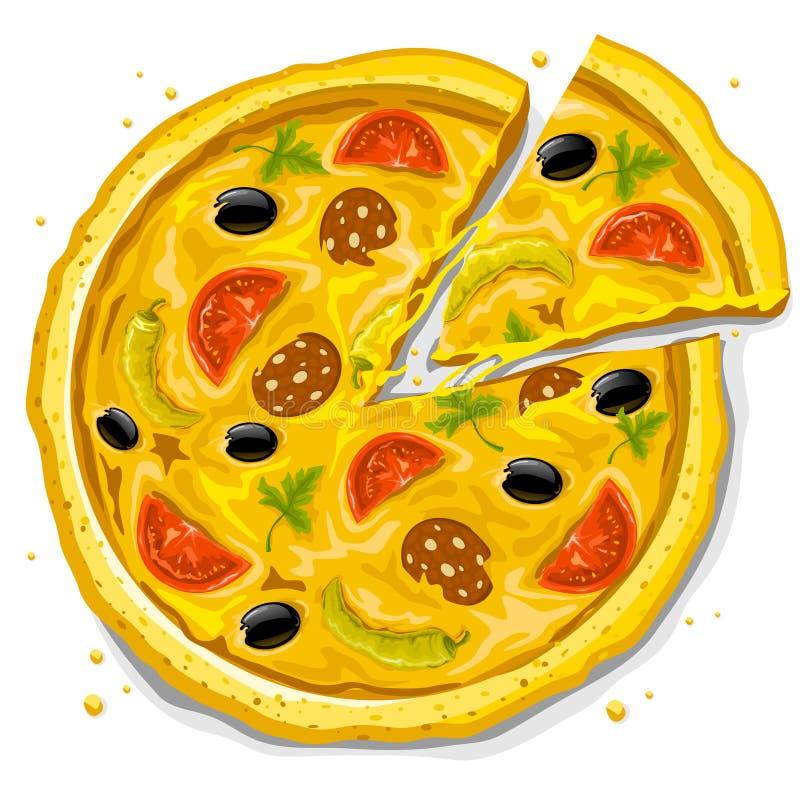Het snelle voedsel vectorillustratie van de pizza stock illustratie