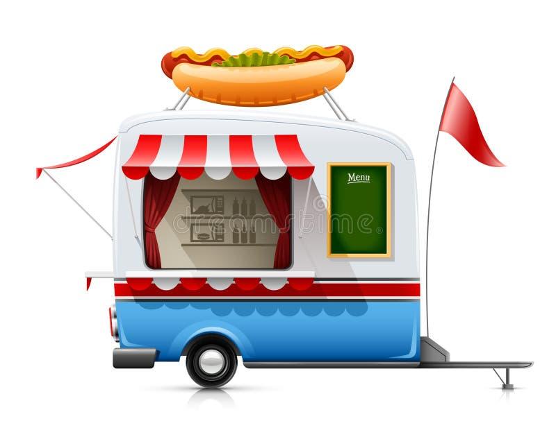 Het snelle voedselhotdog van de aanhangwagen royalty-vrije illustratie