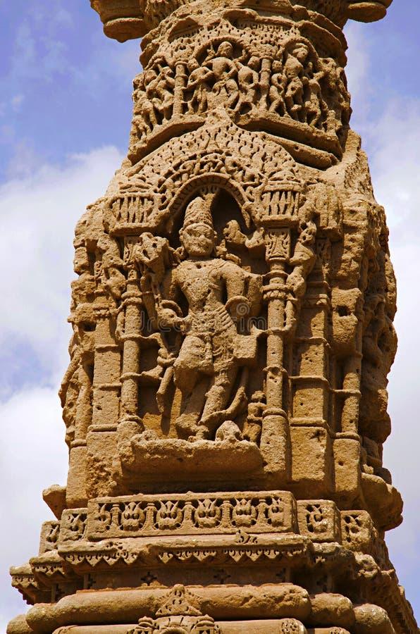 Het snijden details van de ruïnes van Kirti Toran, Vadnagar, Gujarat royalty-vrije stock foto
