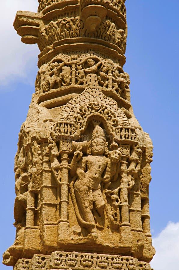 Het snijden details van de ruïnes van Kirti Toran, Vadnagar, Gujarat stock afbeeldingen
