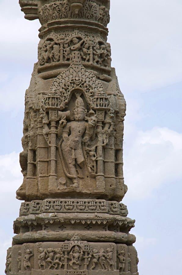Het snijden details van de ruïnes van Kirti Toran, Vadnagar, Gujarat royalty-vrije stock foto's