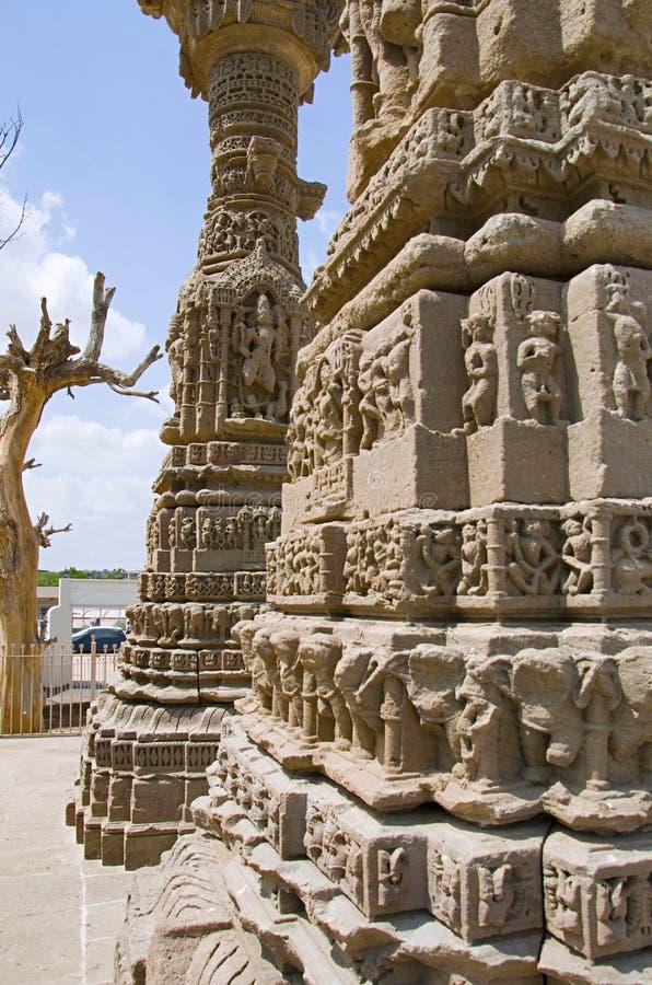 Het snijden details van de ruïnes van Kirti Toran, Vadnagar, Gujarat royalty-vrije stock fotografie