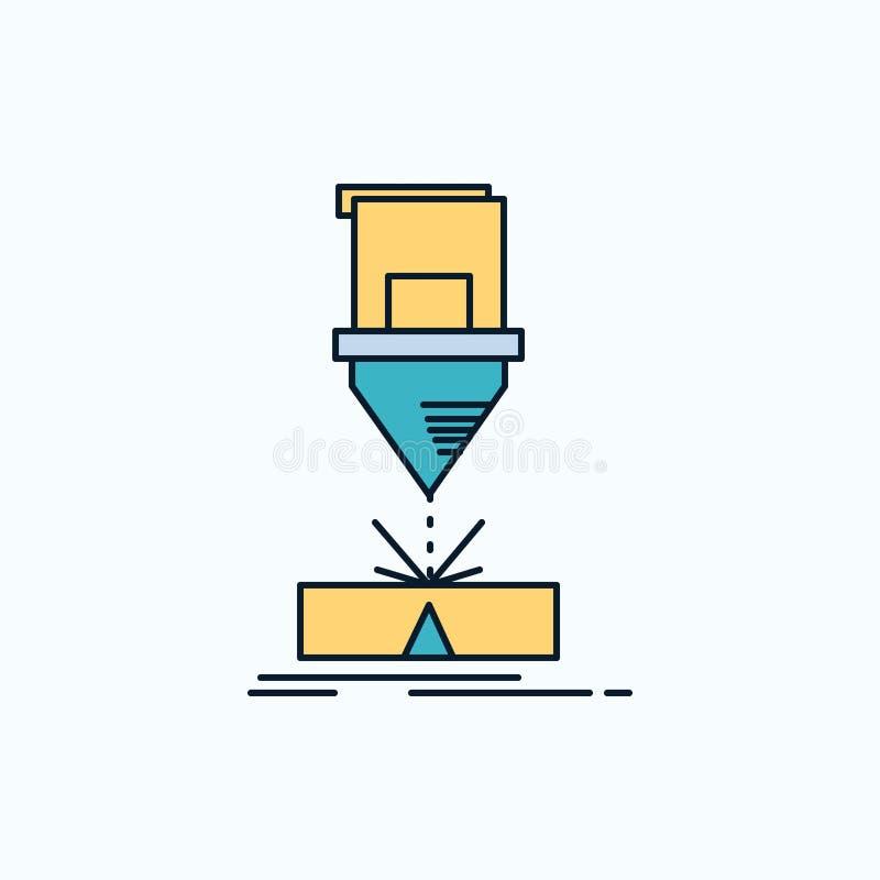 Het snijden, techniek, vervaardiging, laser, het Pictogram van de staalvlakte groene en Gele teken en symbolen voor website en Mo royalty-vrije illustratie