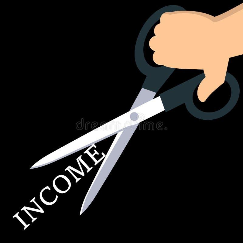 Het snijden van het Woord Inkomen royalty-vrije illustratie