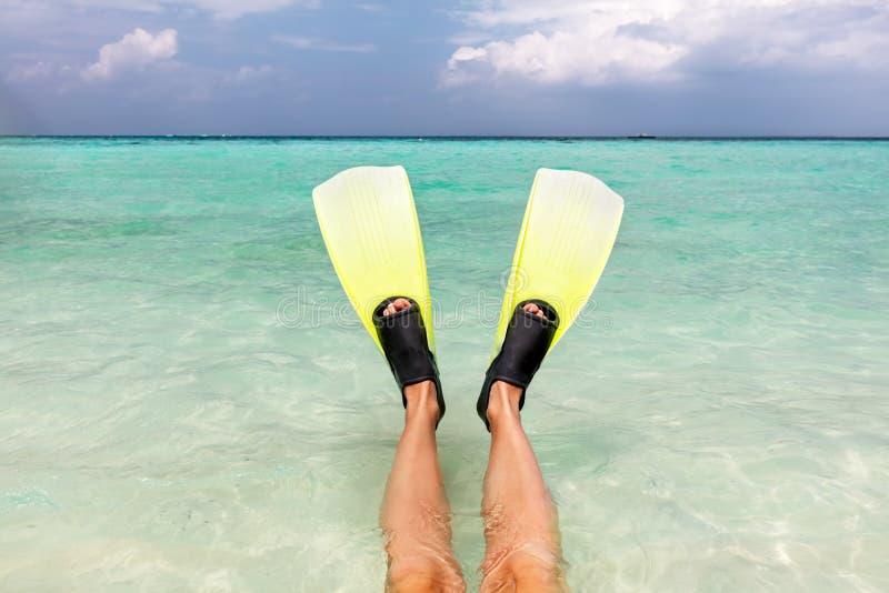 Het snorkelen in de oceaan Vinnen op benen in duidelijk water, de Maldiven stock afbeeldingen