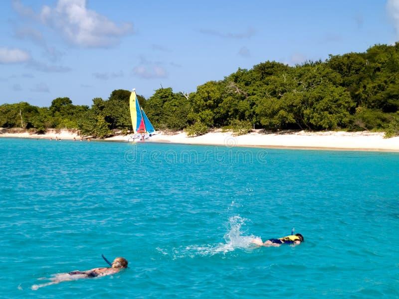 Het snorkelen in het Strand stock fotografie