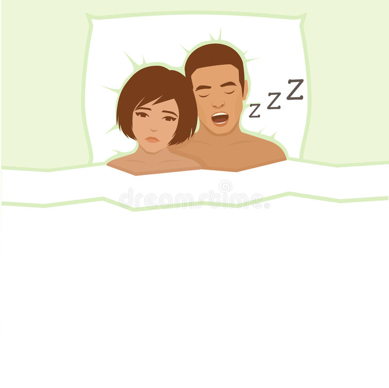 Het snurken mens Paar in bed, stock illustratie