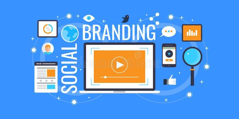 Het sociale brandmerken - sociale media die voor merken op de markt brengen Vlakke ontwerp marketing banner vector illustratie